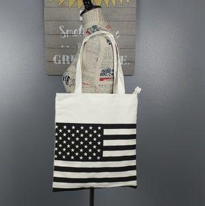 NWT American flag black & white bag